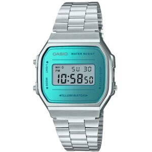 Casio Collection Quartz Blue Digital Dial Silver Stainless Steel Bracelet Ladies' Watch A168WEM-2EF