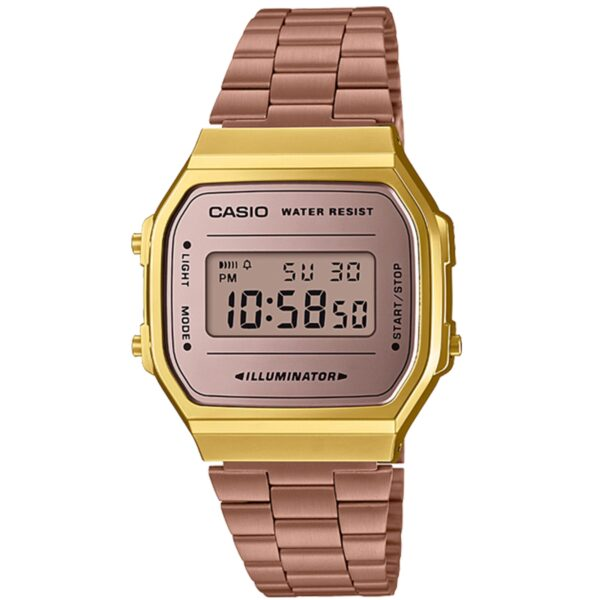 Casio Collection Quartz Digital Dial Rose Gold Stainless Steel Bracelet Ladies' Watch A168WECM-5EF