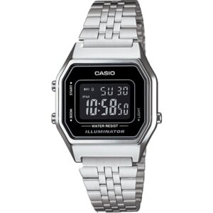 Casio Collection Quartz Digital Dial Silver Stainless Steel Bracelet Ladies' Watch LA680WEA-1BEF