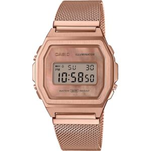 Casio Collection Vintage Quartz Mother of Pearl Digital Dial Rose Gold Mesh Bracelet Ladies' Watch A1000MPG-9EF