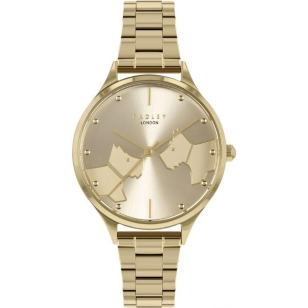 Radley Face To Face Quartz Gold Dial Stainless Steel Bracelet Ladies Watch RY4516