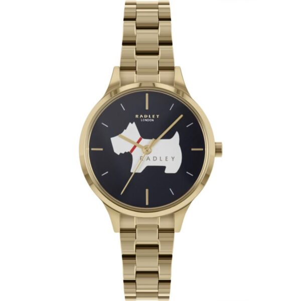 Radley Meridan Place Quartz Black Dial Gold PVD Stainless Steel Bracelet Ladies Watch RY4520