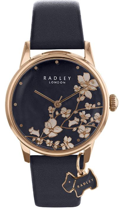 Radley Linear Flower Quartz Navy Leather Strap Rose Gold PVD Case Ladies Watch RY2770