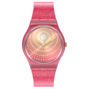 Swatch Chrysanthemum Quartz Pink Dial Silicone Strap Ladies Watch GP169