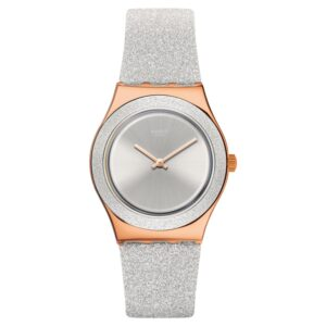 Swatch Grey Sparkle Quartz Silicone Strap Ladies Watch YLG145