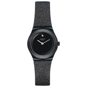 Swatch Lost Moon Quartz Black Dial Synthetic Strap Ladies Watch YSB101