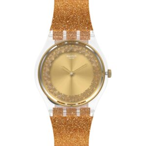 Swatch Sparklingot Quartz Gold Dial Silicone Strap Ladies Watch GE285